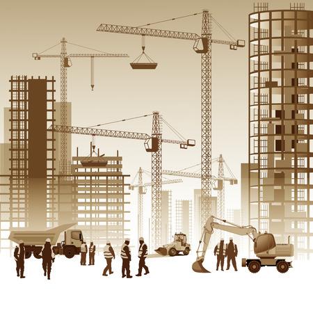 hombres trabajando: Edificios en construcción con los trabajadores. Ilustración vectorial