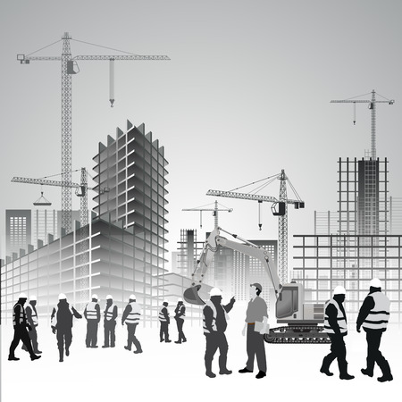 Construction site with cranes, excavator and workers. Vector illustration