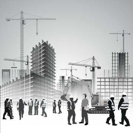 edificio: Obras de construcción con grúas, excavadoras y trabajadores. Ilustración vectorial