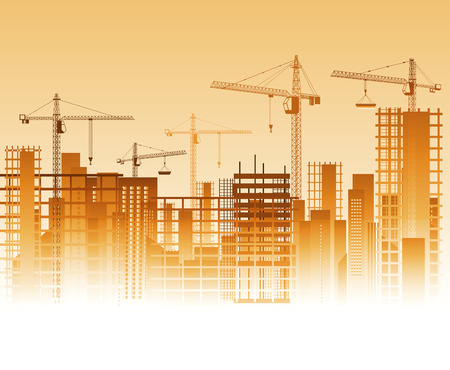 Lots of cranes on construction site. Vector illustration Stock Illustratie