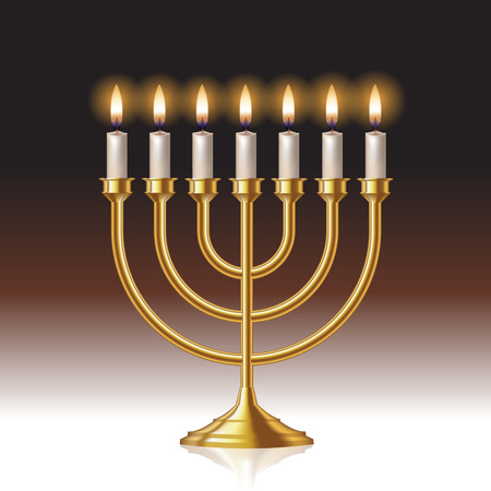 Hanukkah menorah with candles isolated on background. Vector illustration