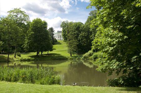 royal park: Pond in Lazienki Park in Warsaw springtime