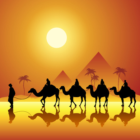 Caravan with camels in desert with pyramids on background. Vector illustration Illustration