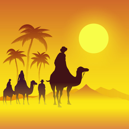 desert sunset: Camels caravan going through the desert. Vector illustration