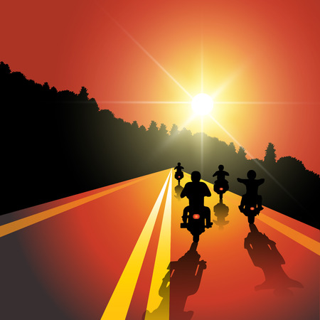 Group of bikers riding on sunset street. Vector illustration