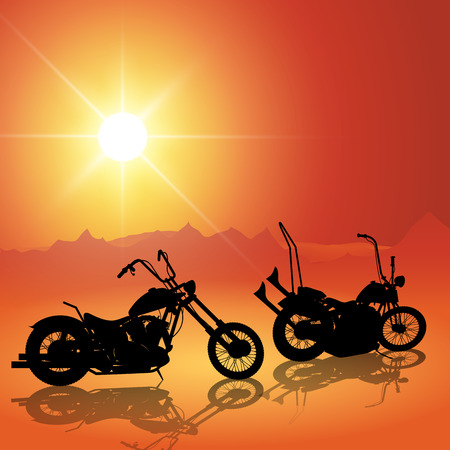 rallies: Landscape with motorcycles at sunset. Vector illustration