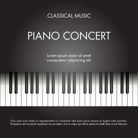 fortepian: Klasyczna muzyka fortepianowa tło na plakat, www, ulotki, magazyn. Ilustracji wektorowych
