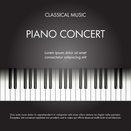 Classic music piano background for poster, web, leaflet, magazine. Vector illustration