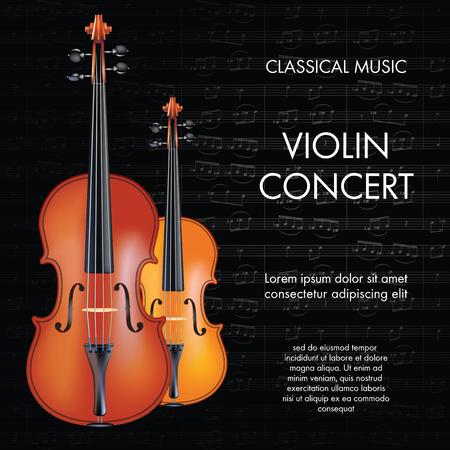 instrumental: Classic music violin background for poster, web, leaflet, magazine. Vector illustration