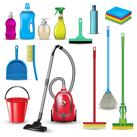 cleaning equipment: Set of cleaning tools isolated on white. Vector illustration