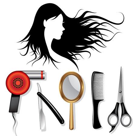 Stylist: Equipamiento de peluquería. Salón de belleza y mujer silueta de la cara. Ilustración vectorial