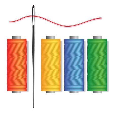 hilo rojo: Aguja e hilos aislados sobre fondo blanco. ilustraci�n vectorial Vectores