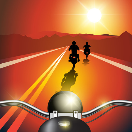 Bikers riding motorcycles on road at sunset. Vector illustration
