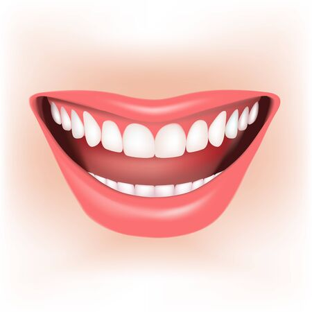 teeth whitening: Beautiful wide smile of young woman. Vector illustration