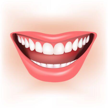 labios sexy: Hermosa amplia sonrisa de la joven. Ilustración vectorial Vectores