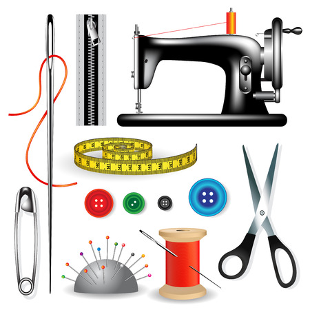 textile industry: Sewing tools and accessories on a white background. Vector illustration Illustration
