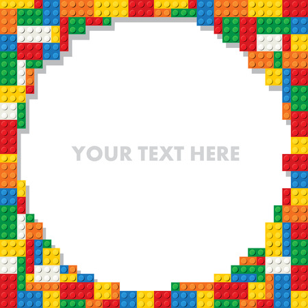 juguetes: Plantilla de piezas de construcci�n de pl�stico para el texto. Ilustraci�n vectorial