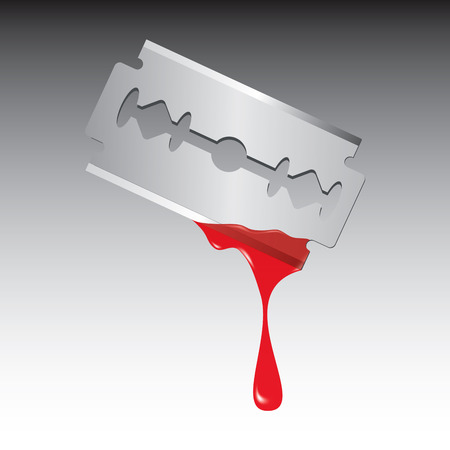 cross cut: Razor with drop of blood isolated on white background. Vector illustration