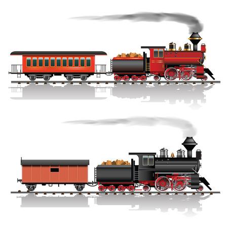 locomotora: Antigua locomotora de vapor americano. Pasajeros y vagones de mercancías. Ilustración vectorial