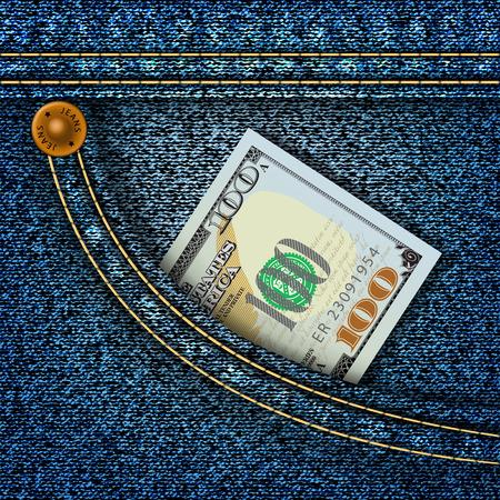 pocket: One hundred dollars in the pocket of blue jeans. Vector illustration