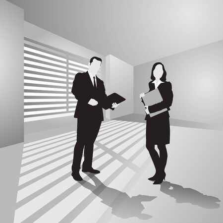 one on one meeting: Business people meeting in office to discuss project. Vector illustration