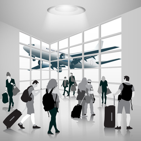 Silhouette people in an airport. Vector illustration