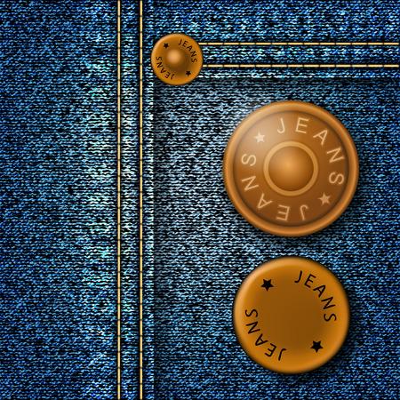 mezclilla: Botones de metal con los pantalones vaqueros de inscripción en denim. Ilustración vectorial Vectores