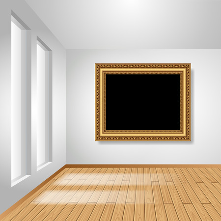 perspective room: White room with empty picture frame on the wall. Vector illustration