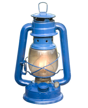 kerosene lamp: Old blue kerosene lamp on isolate background