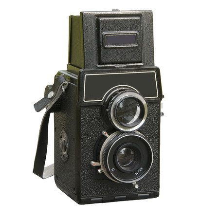 viewfinder vintage: Soviet retro two lens photo camera isolated over white background