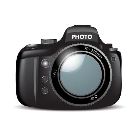 slr: SLR black camera on white background. Vector illustration
