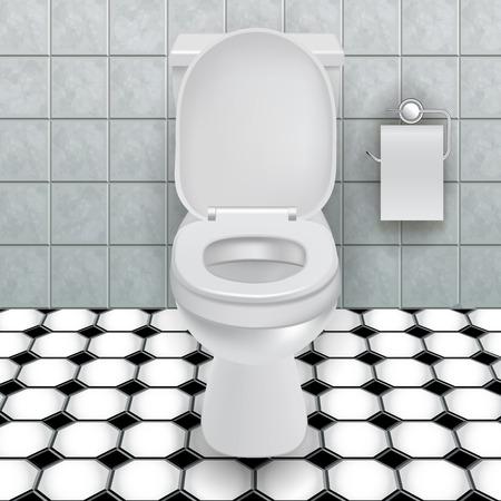 papel de baño: Taza del inodoro en un baño moderno. Ilustración vectorial