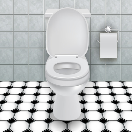 flush toilet: Toilet bowl in a modern bathroom. Vector illustration