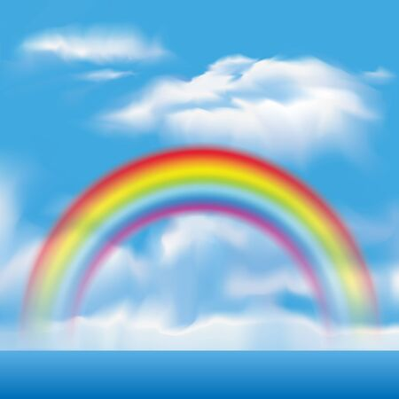 rainbow sky: Rainbow and clouds in the sky. Vector illustration