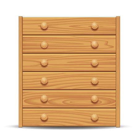 drawers: Wooden dresser isolated on white. Vector illustration Illustration