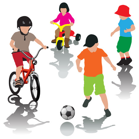 playground ride: Children ride their bicycles on the playground. Boys playing ball. Vector illustration