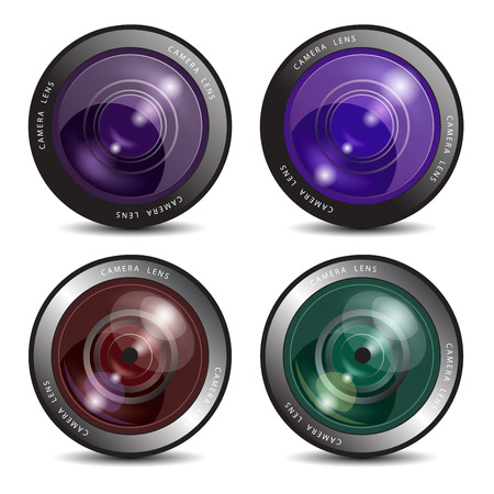focus on shadow: Set of camera lenses isolated on white. Vector illustrarion