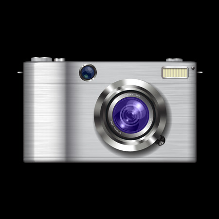Compact photo camera isolated on black. Vector illustration