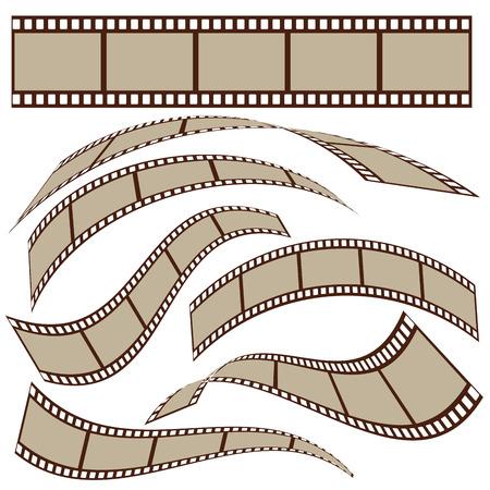 Conjunto de marcos de la tira de película en blanco con diferente forma. ilustración vectorial