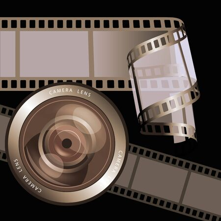 media equipment: Film negative frames, film strips and camera lens. Vector illustration Illustration