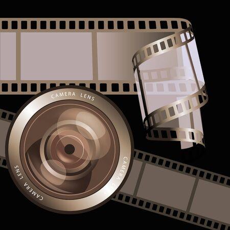 rollo pelicula: Marcos de película negativas, tiras de película y lente de la cámara. Ilustración vectorial