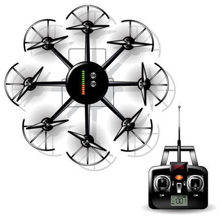 remote: Remote drone flying with video camera on board. Vector illustration