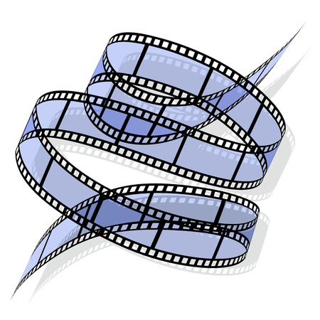 film industry: Film rolled down on a white background. Vector illustration Illustration