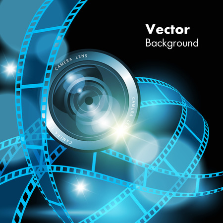 film: Film strips and camera lens isolated on background. Vector illustration