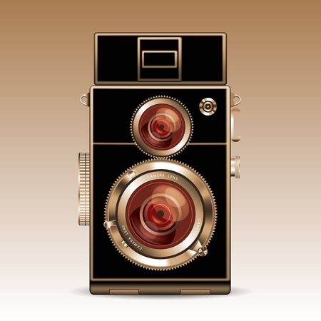 old photo: Old photo camera isolated on background. Vector illustration