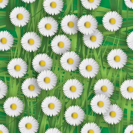 green flowers: Seamless flower pattern with daisies flowers. Vector illustration