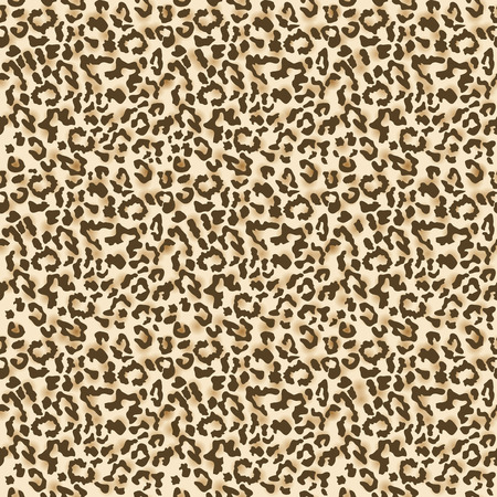 Leopard fur. Realistic seamless fabric pattern. Vector illustration Çizim