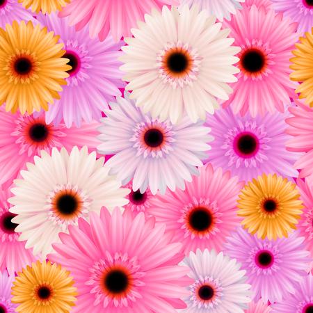gerbera: Seamless pattern with gerbera flowers. Vector illustration Illustration