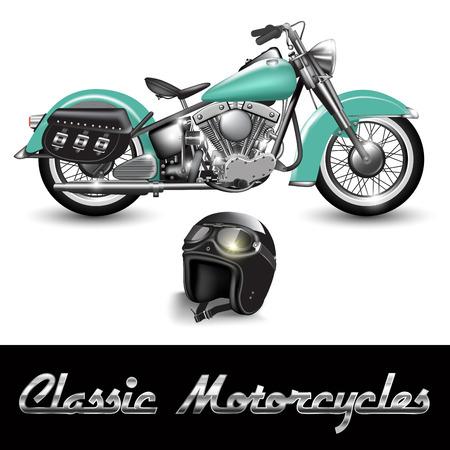 casco de moto: Motocicleta clásica y casco con gafas. Ilustración vectorial