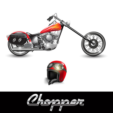 cicla: Motocicleta Chopper y casco con gafas. Ilustración vectorial